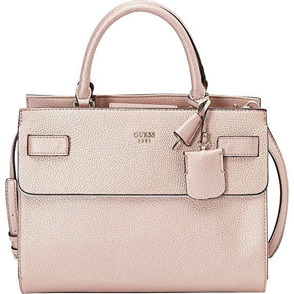 Rose Gold Handbags - GUESS Cate Satchel in Metallic Rose Gold