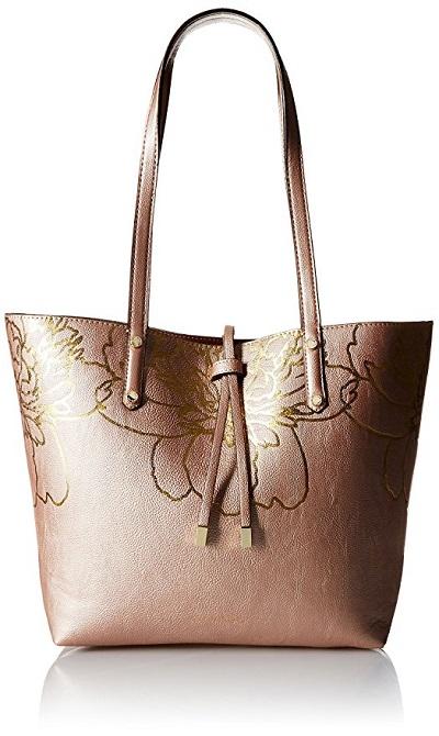 Rose Gold handbags - Calvin Klein Floral Trim Tote Bag