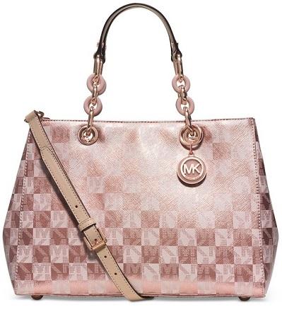 Rose Gold Handbags Michael Kors Cynthia