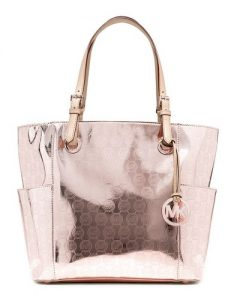 Rose Gold handbags - Michael Kors Jet Set East West Signature Tote