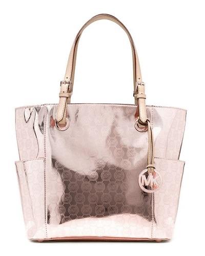 Rose Gold handbags - Michael Kors Jet Set East West Signature Tote