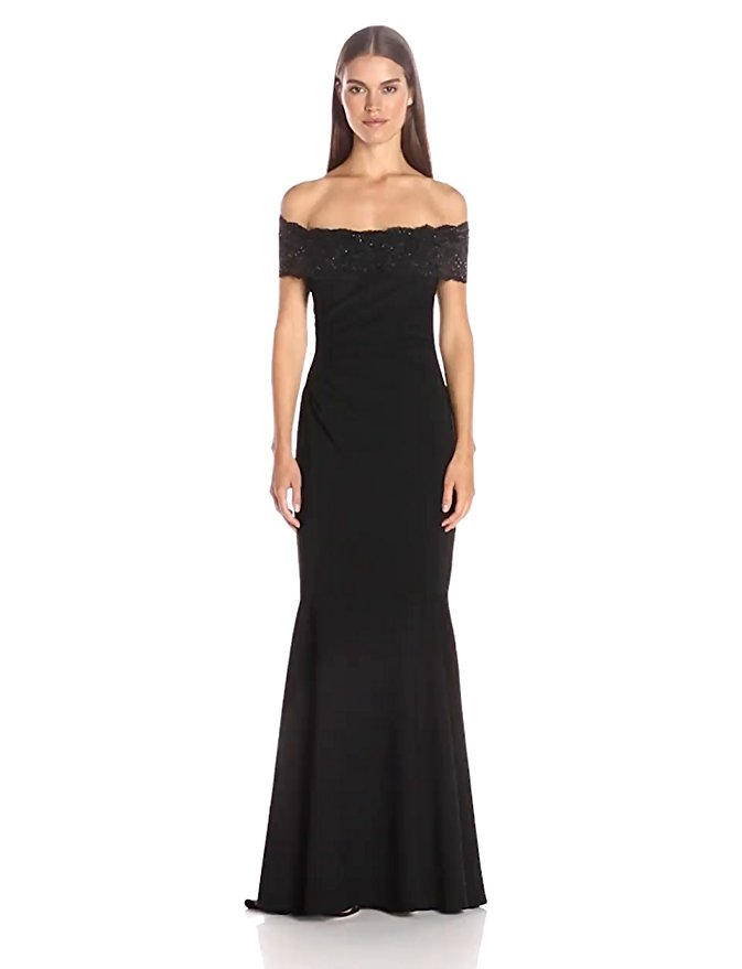Badgley Mischka Women's Beaded Lace Off the Shoulder Gown